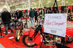 2018 Motorcycle Spring Show in Toronto, the Red Carpet display of vintage motorcycles